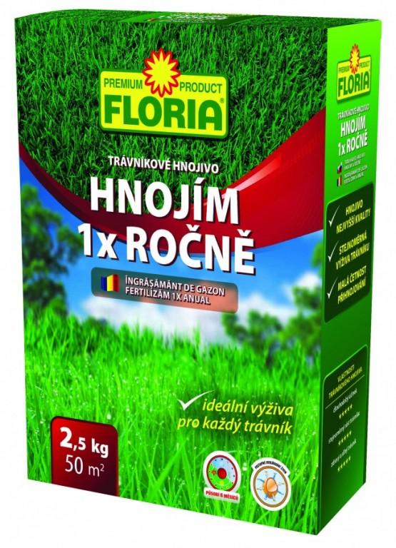 FLORIA Trávníkové hnojivo HNOJÍM 1x ROČNĚ, 2,5 kg