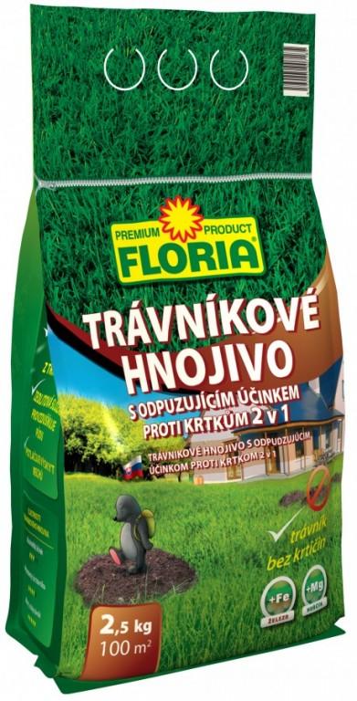 FLORIA Trávníkové hnojivo s odpuzujícím účinkem proti krtkům, 2,5 kg